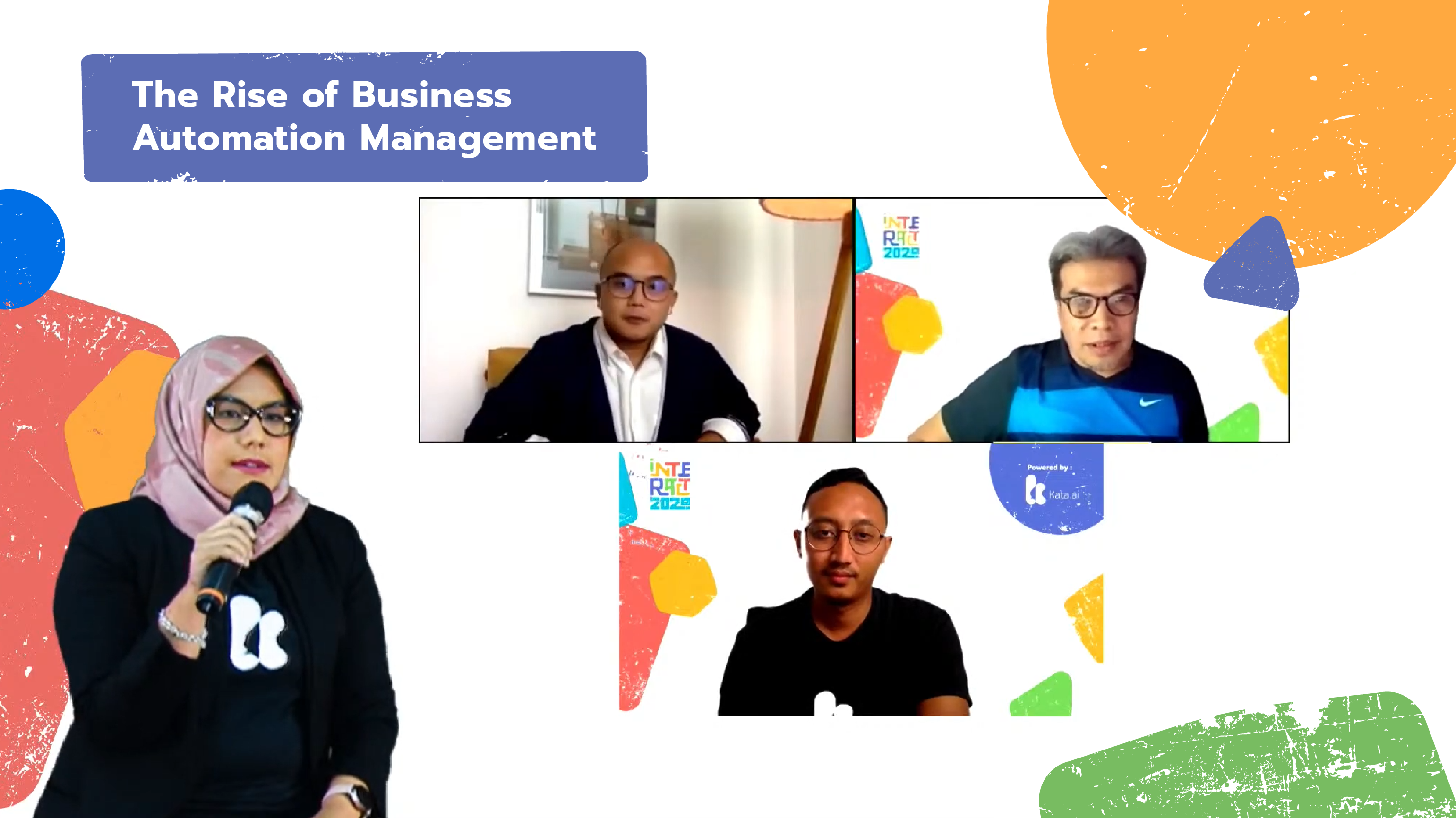 INTERACT 2020's first panel session discussed about the rise of business automation management with Kata.ai COO Wahyu Wrehasnaya, Mikro Investindo Utama CEO Busi Satria Isman, and Toko Kopi Tuku founder Andanu Prasetyo