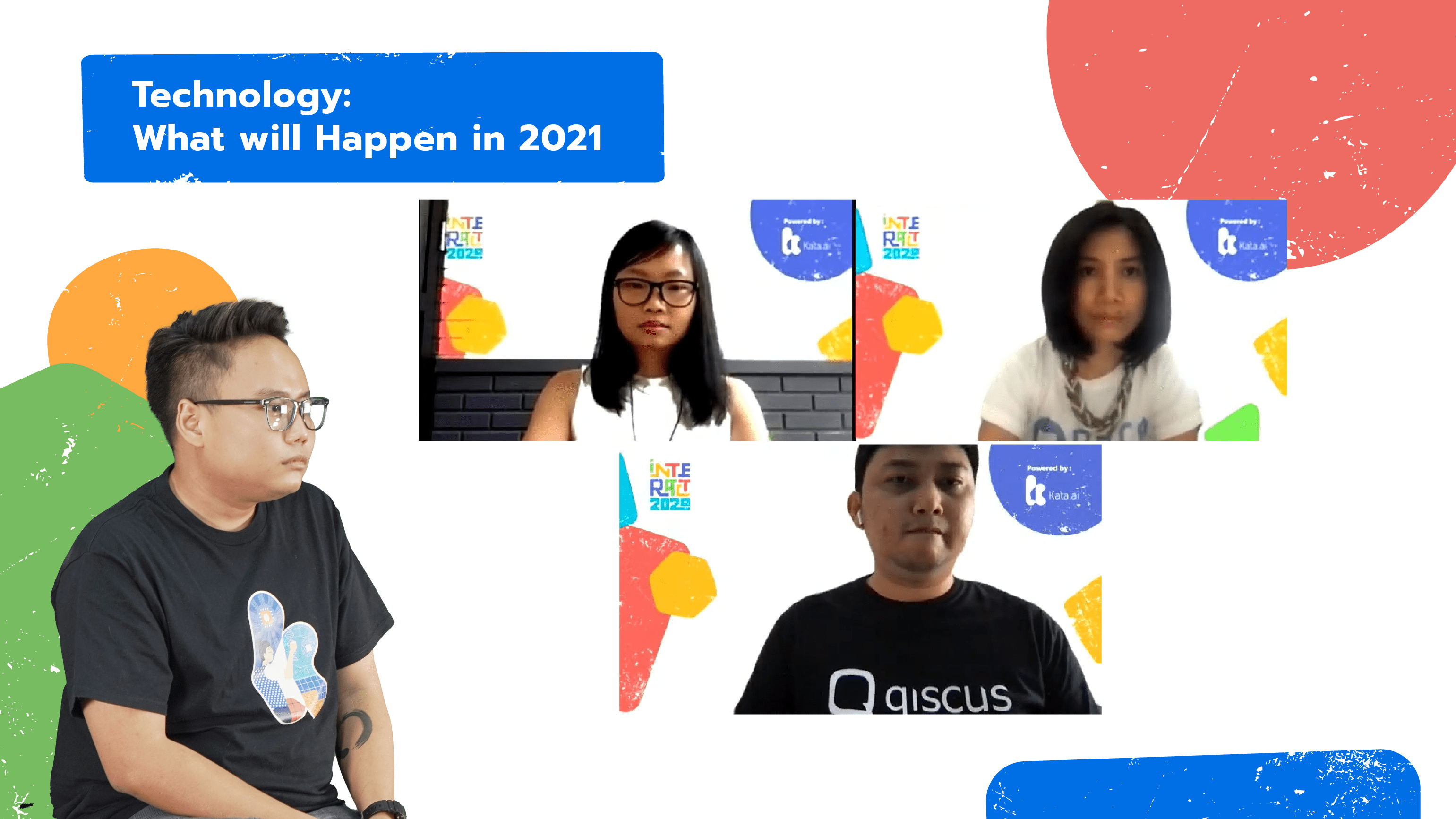 INTERACT 2020's second panel session discussed upcoming technology and business challenges in 2021 with ScrapingHub Solution Architect Team Lead Theresia Tanzil, Qiscus CTO Evan Purnama, and DANA Indonesia VP of Engineering Ignatia Suwarna.