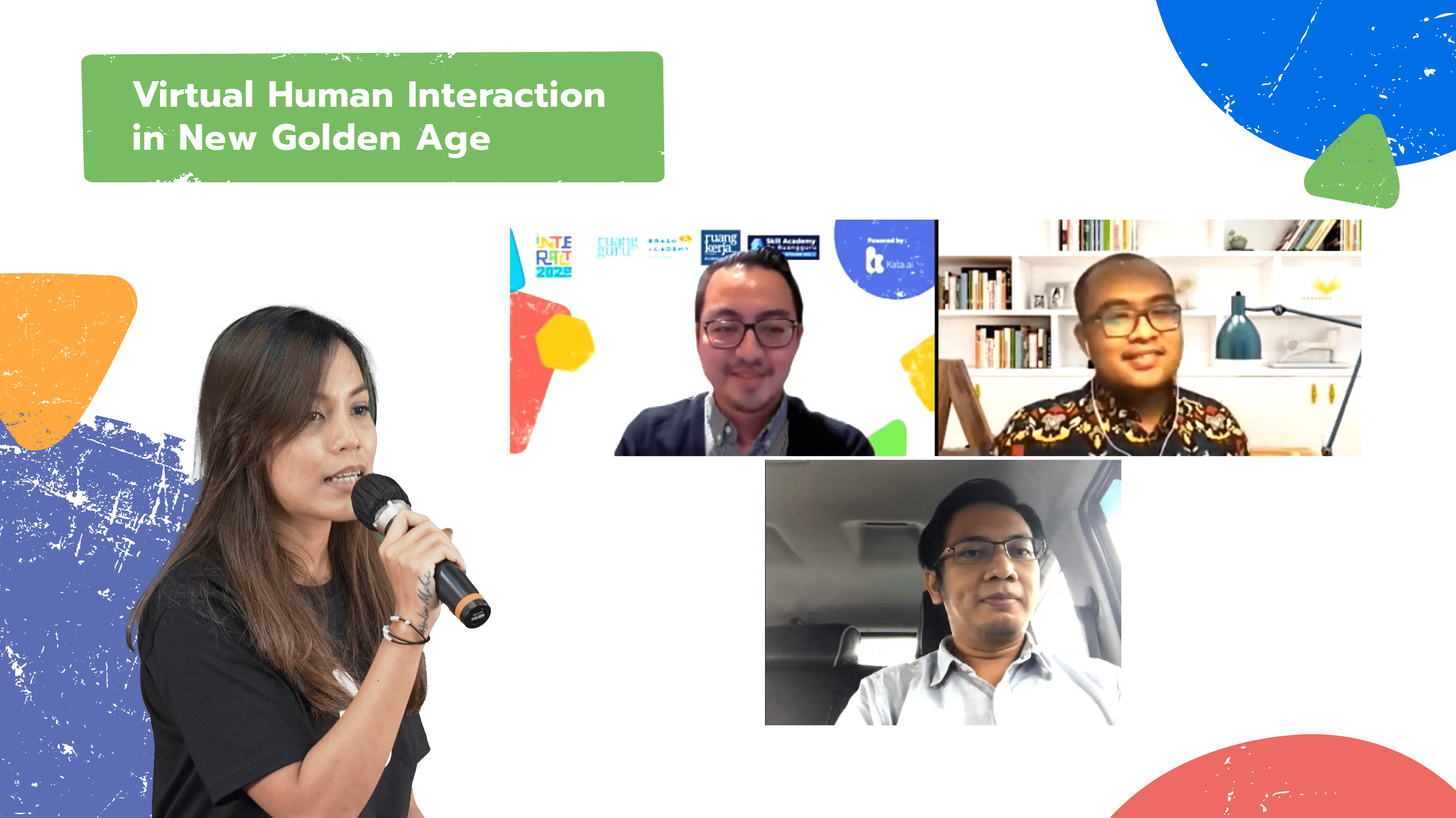 """INTERACT 2020's third panel session discussed how businesses in the healthcare and education sector can capitalize on the current """"golden age"""" of virtual human interactions with Ruangguru VP of Business and Operation Ritchie Gunawan, Prixa Product Management Lead Rosi Setyo Nugroho, and Indonesian Research and Technology Minister special staffer Danang Rizki Ginanjar."""