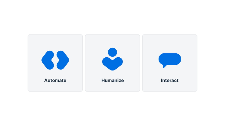 We are introducing a new brand design that reflects our three core philosophies: Automate, Humanize, and Interact.