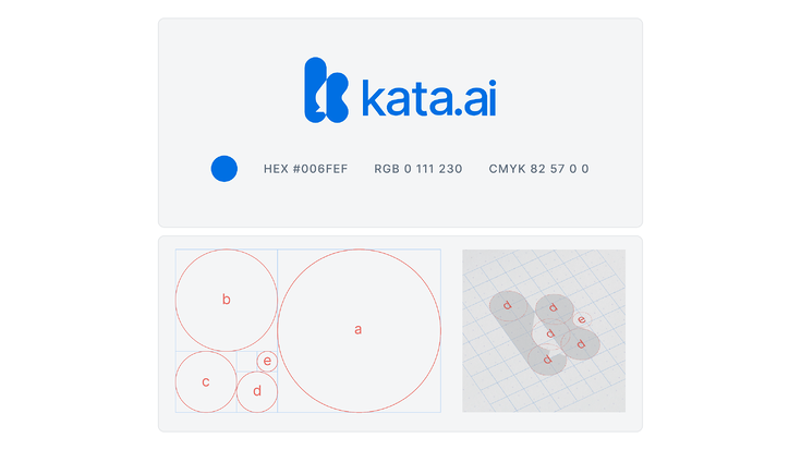 Kata.ai's new logogram is a unique visual identity that combines our three core principles and improved on the visual consistency by following the golden ratio while maintaining the familiarity of our previous logo.