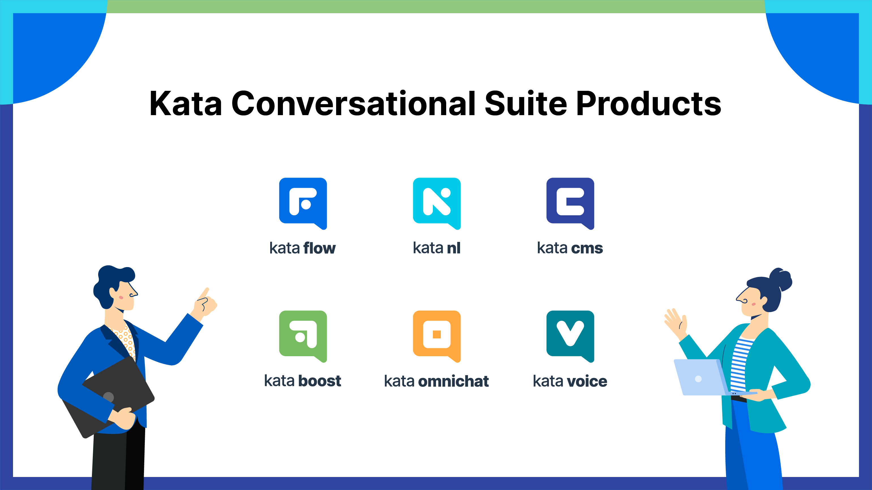Kata Conversational Suite has six main products, namely Kata Flow, Kata NL, Kata CMS, Kata Boost, Kata Omnichat, and Kata Voice